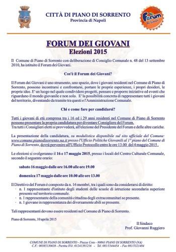 Bando Forum dei Giovani
