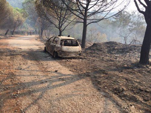 auto carabinieri incendiata