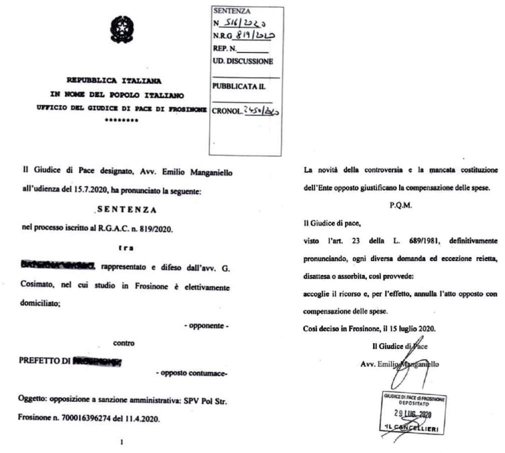 giudice di pace frosinone DPCM illegittimi