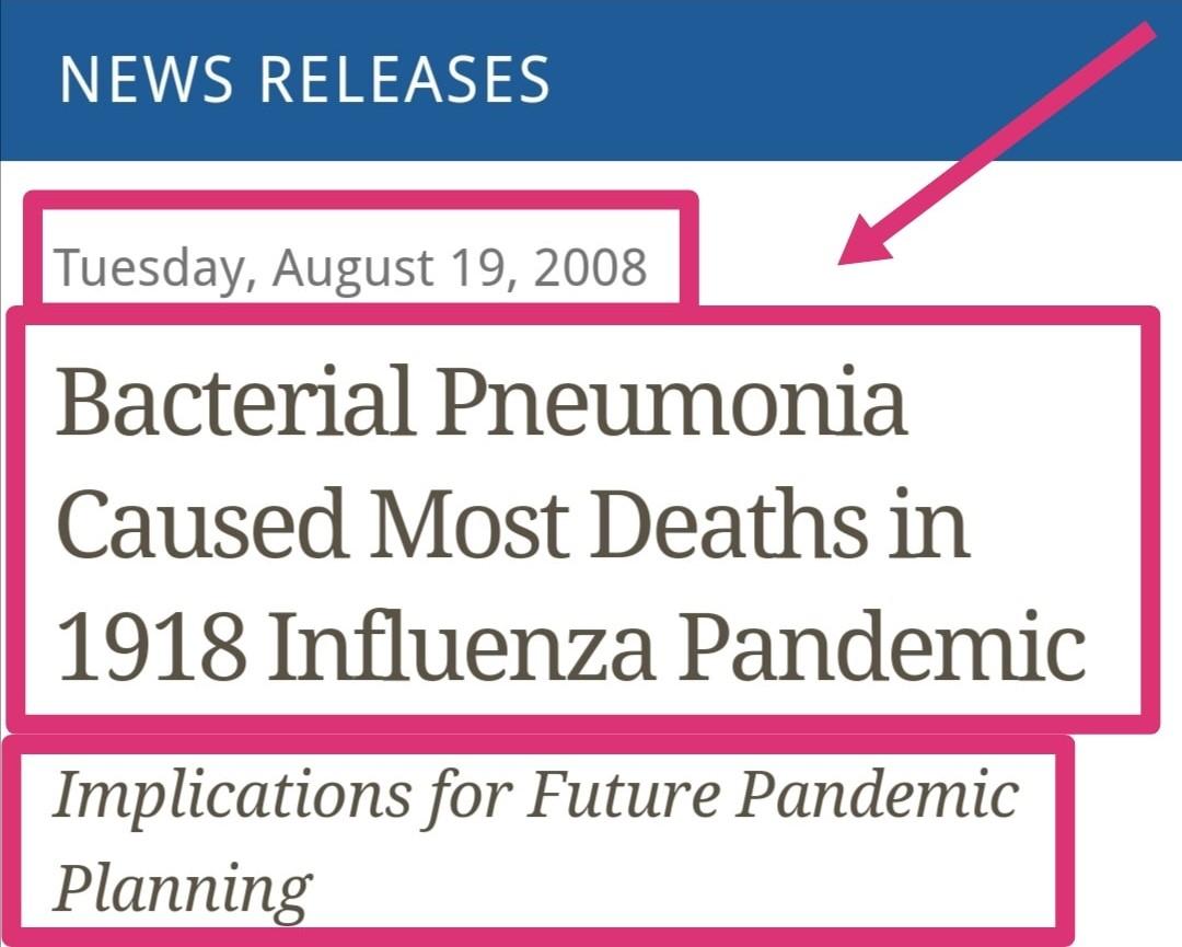 Fu la polmonite batterica a causare la maggior parte dei decessi nella pandemia del 1918