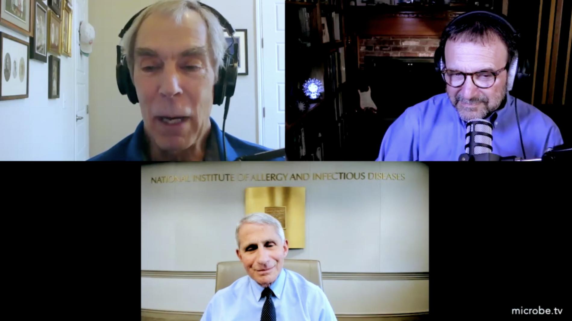 Il prof. della Columbia University Racaniello in video insieme al direttore del NIAID Fauci