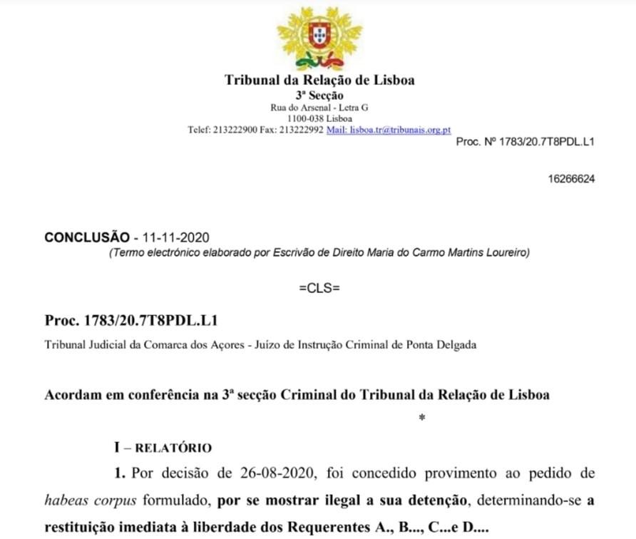 Sentenza dell'11 novembre 2020della corte d'appello portoghese