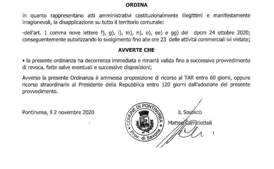 ordinanza comunale sindaco di Pontinvrea