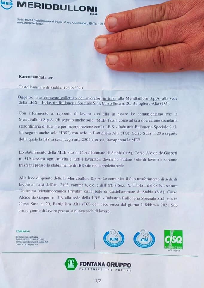 Raccomandata trasferimento operai a Torino Meridbulloni Spa