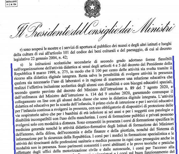 art. 1 comma 9 lett. s del DPCM del 3 novembre 2020