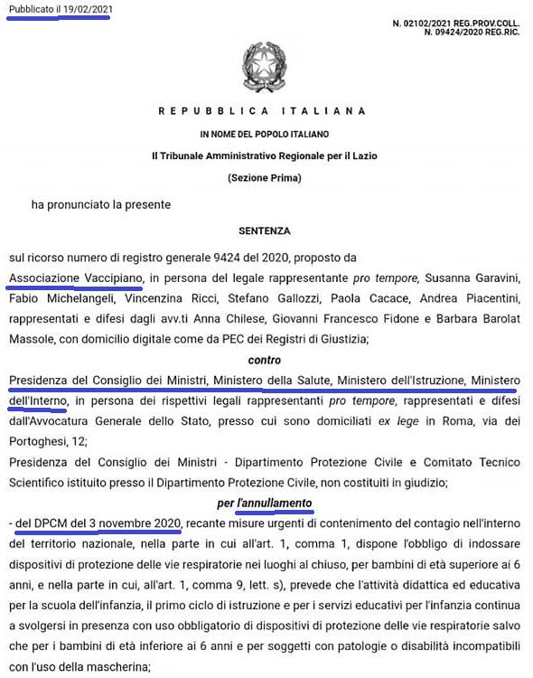 sentenza n. 021022021 del 19 febbraio 2021, dichiara l'illegittimità dell'art. 1, comma 9, lett. s), del DPCM del 3 novembre 2020