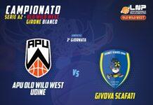 La Givova Scafati sarà ad Udine presso il PalaCarnera contro l'Apu Old Wild West